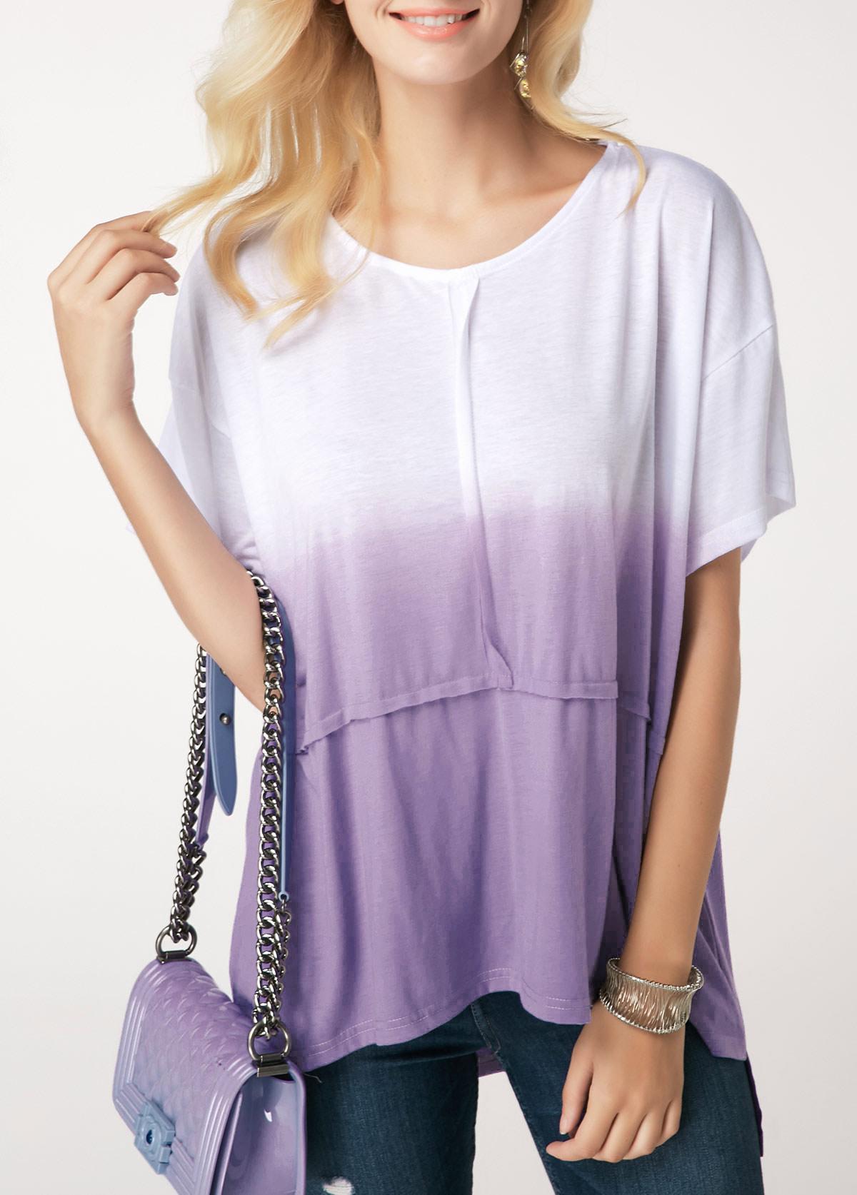 ROTITA Round Neck Color Block Short Sleeve T Shirt