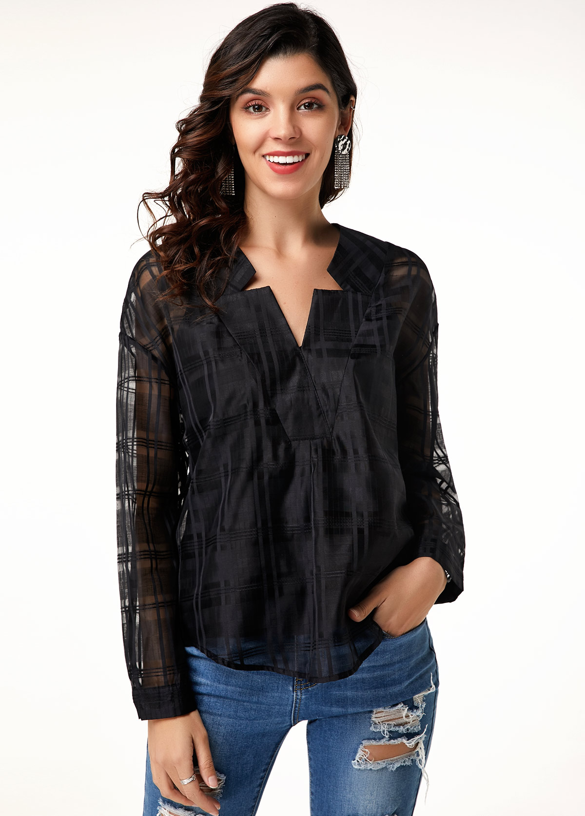 ROTITA Curved Hem Long Sleeve Black Blouse