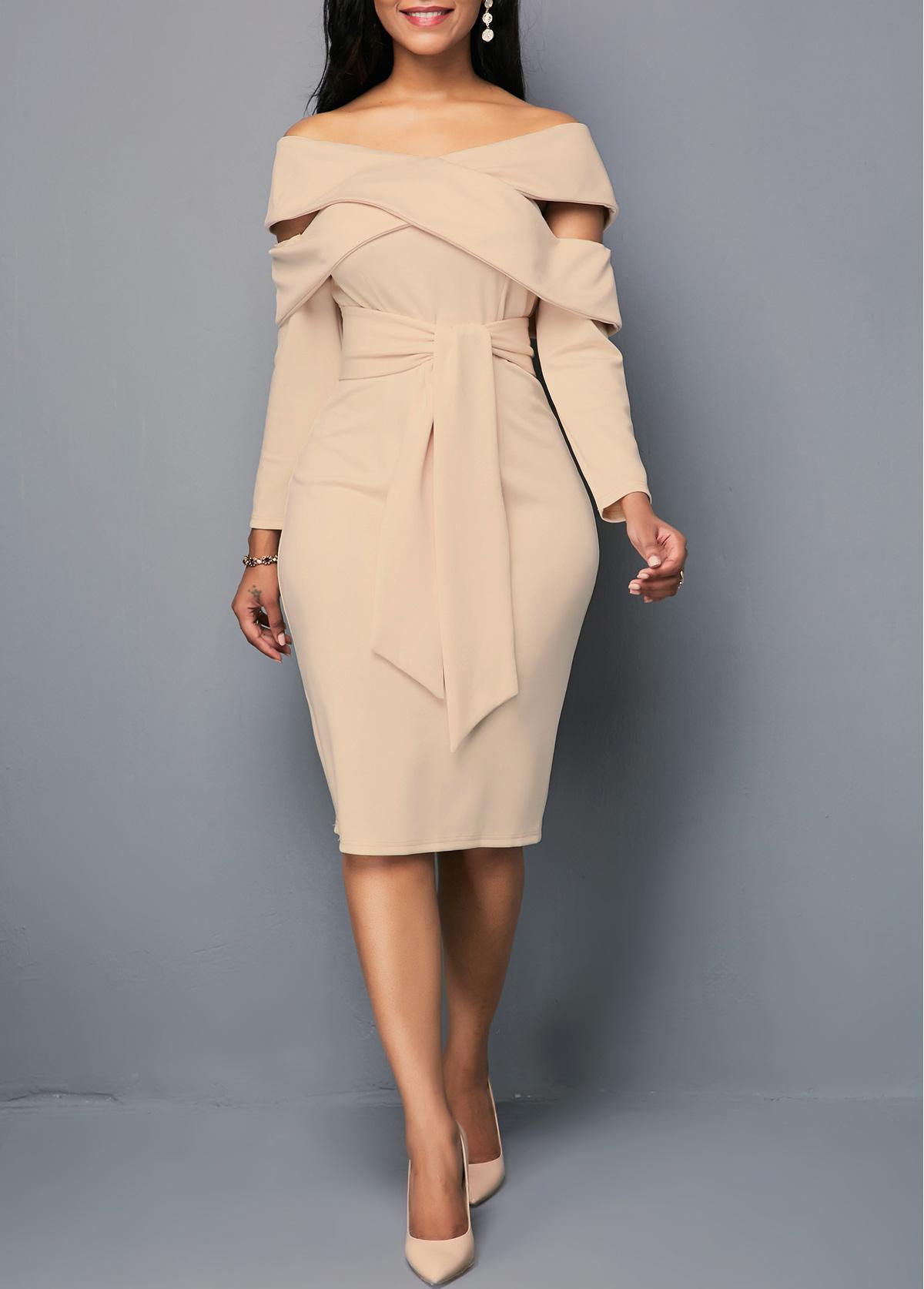 ROTITA Off the Shoulder Zipper Back Sheath Dress
