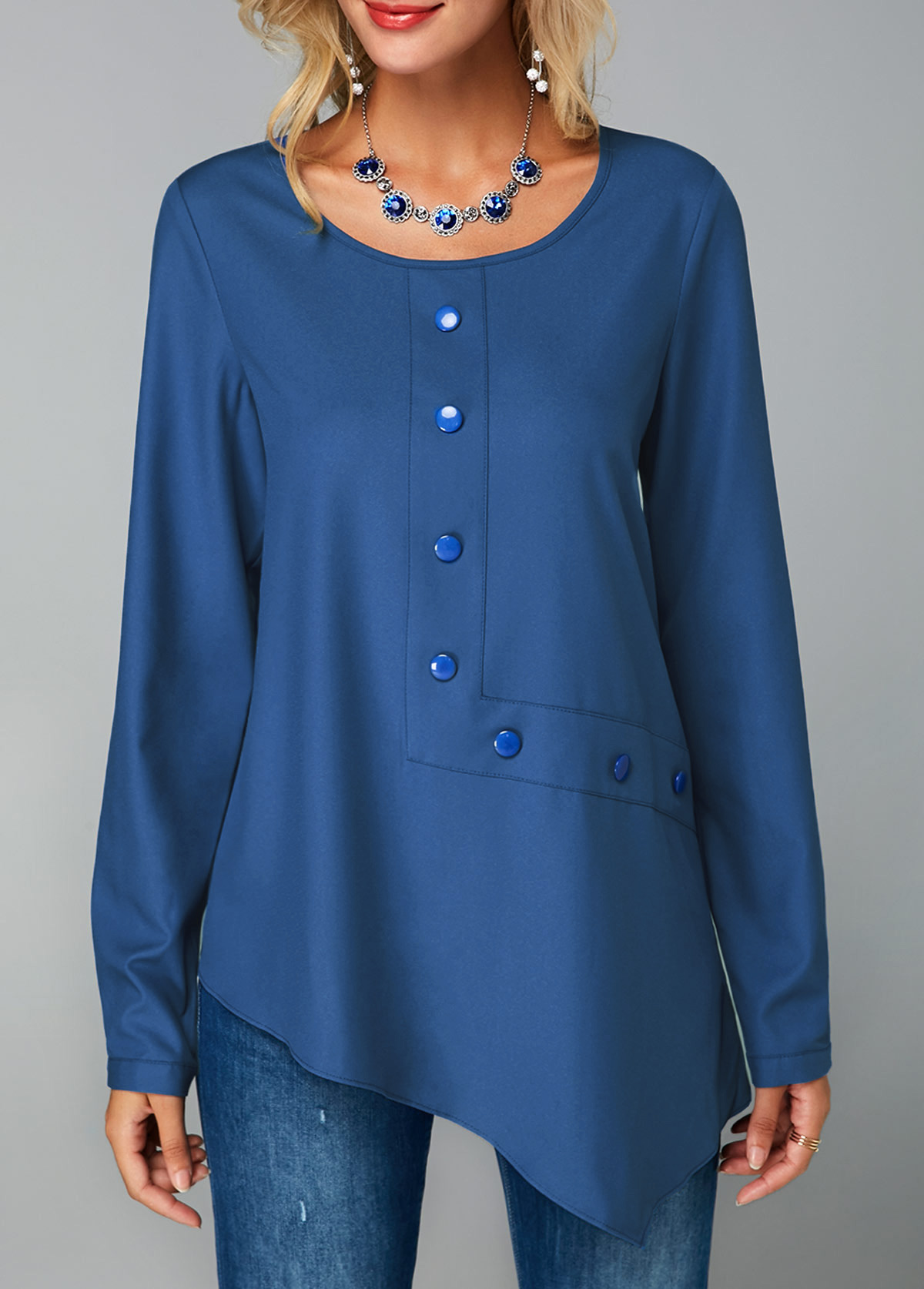 ROTITA Royal Blue Keyhole Back Button Decorated Blouse