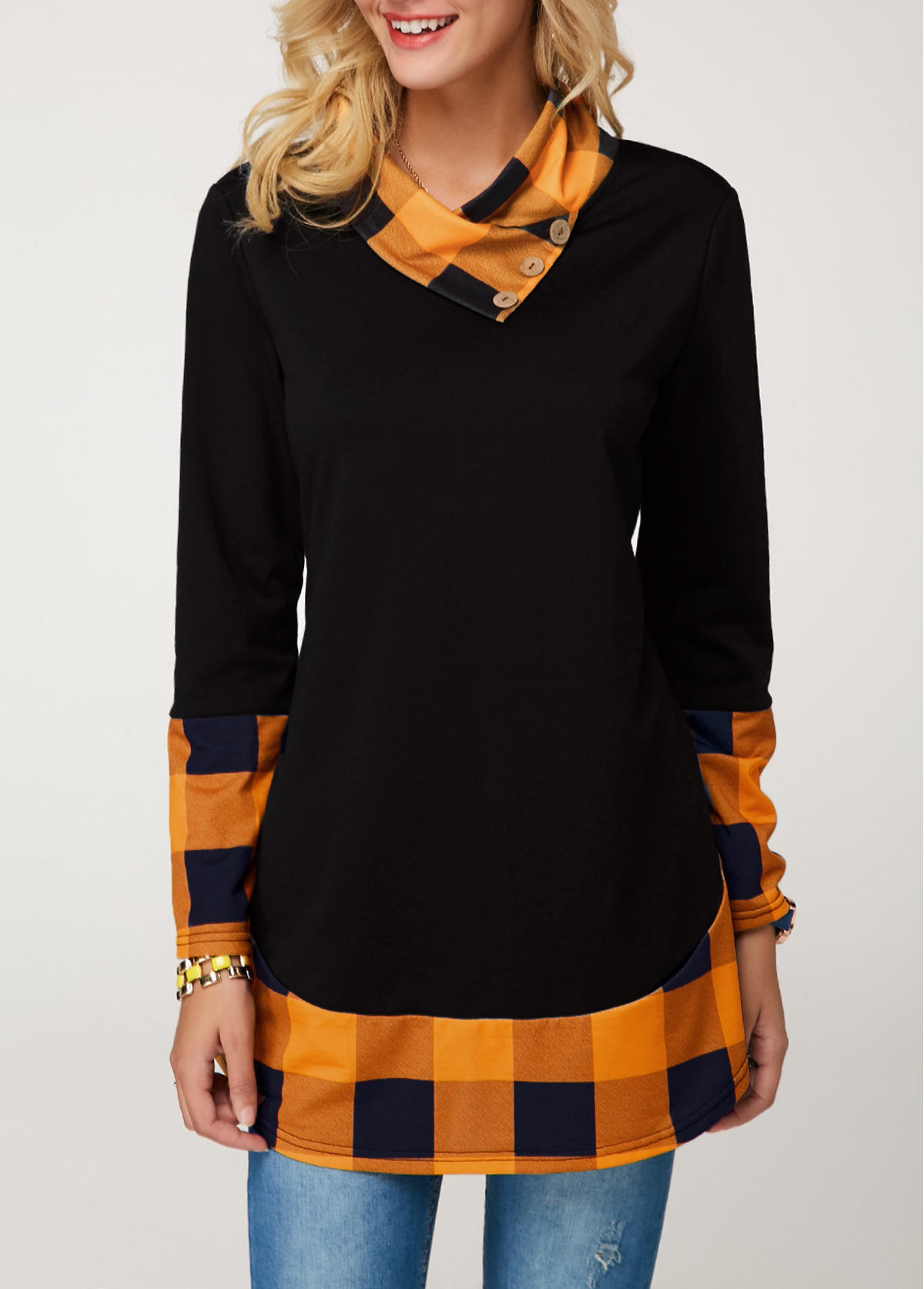 ROTITA Long Sleeve Button Detail Plaid Print Tunic T Shirt