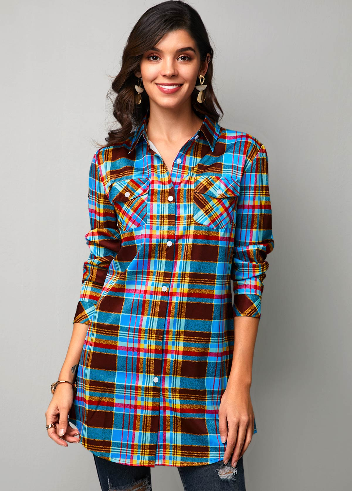 Button Up Curved Hem Plaid Print Blue Shirt