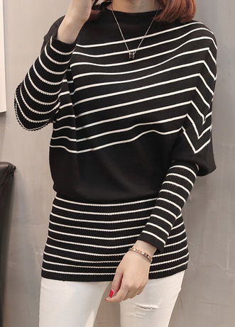 Black Striped Long Sleeve Blouson Sweater