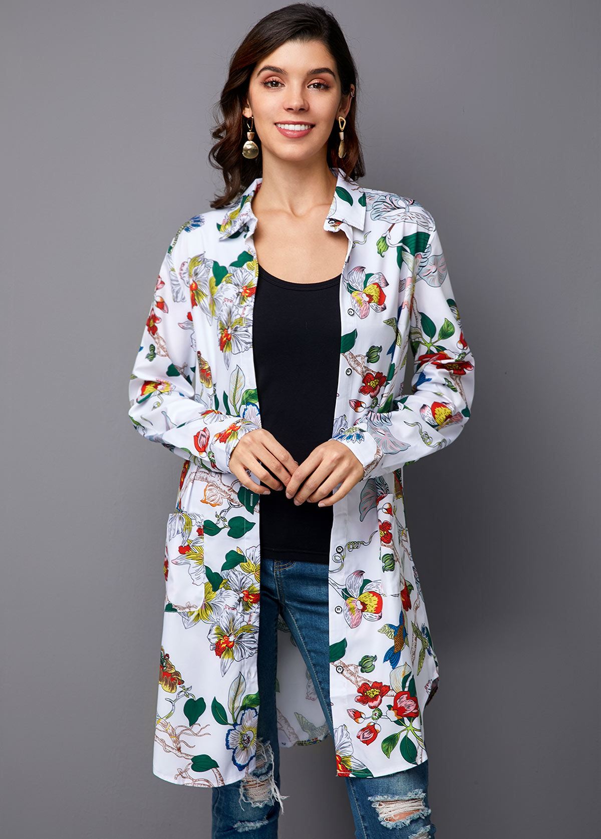ROTITA Turndown Collar Printed Button Up Blouse