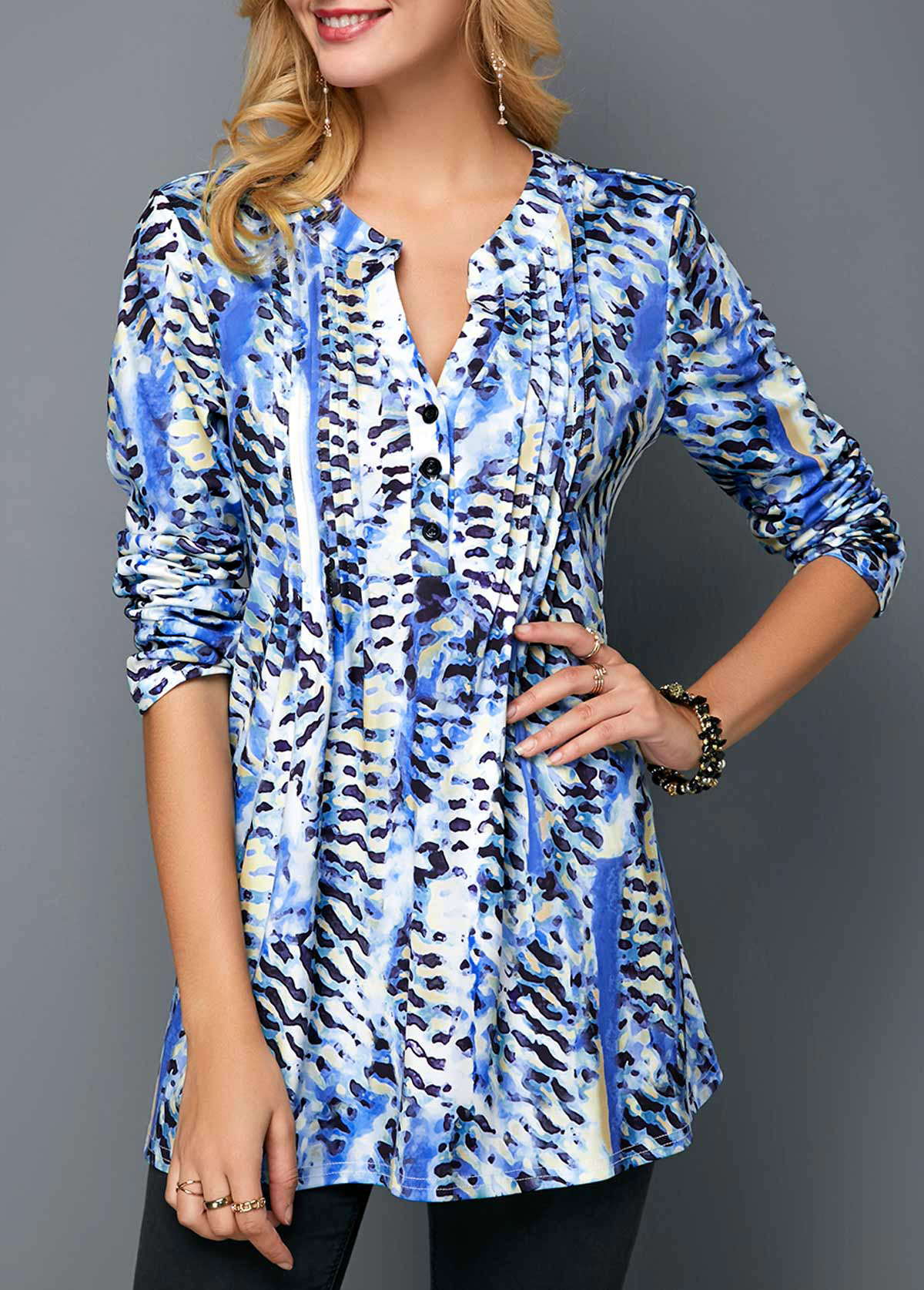 ROTITA Button Up Printed Split Neck Pleated Detail Blouse