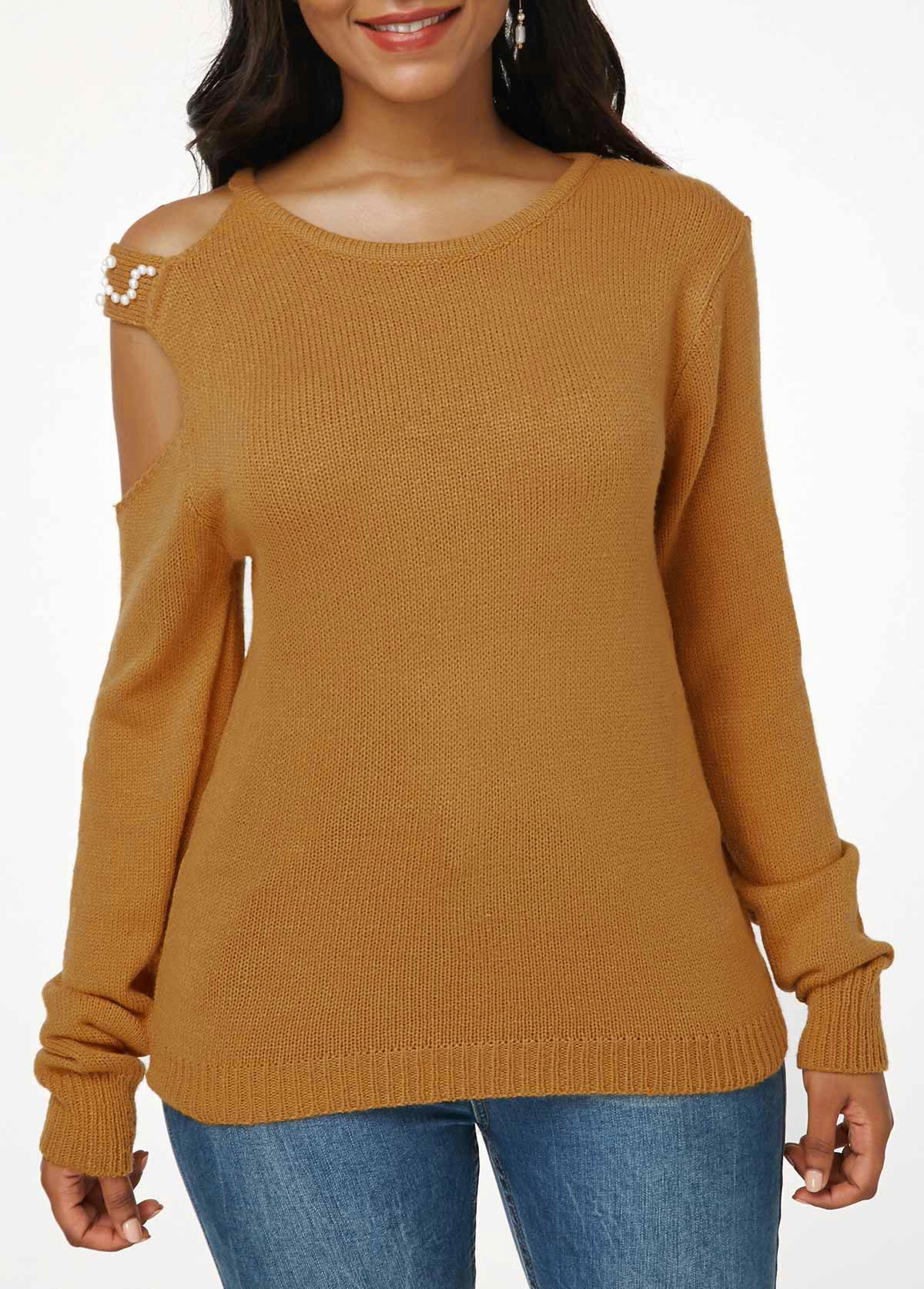 ROTITA Ginger Faux Pearl Embellished Cutout Shoulder Knitting Sweater