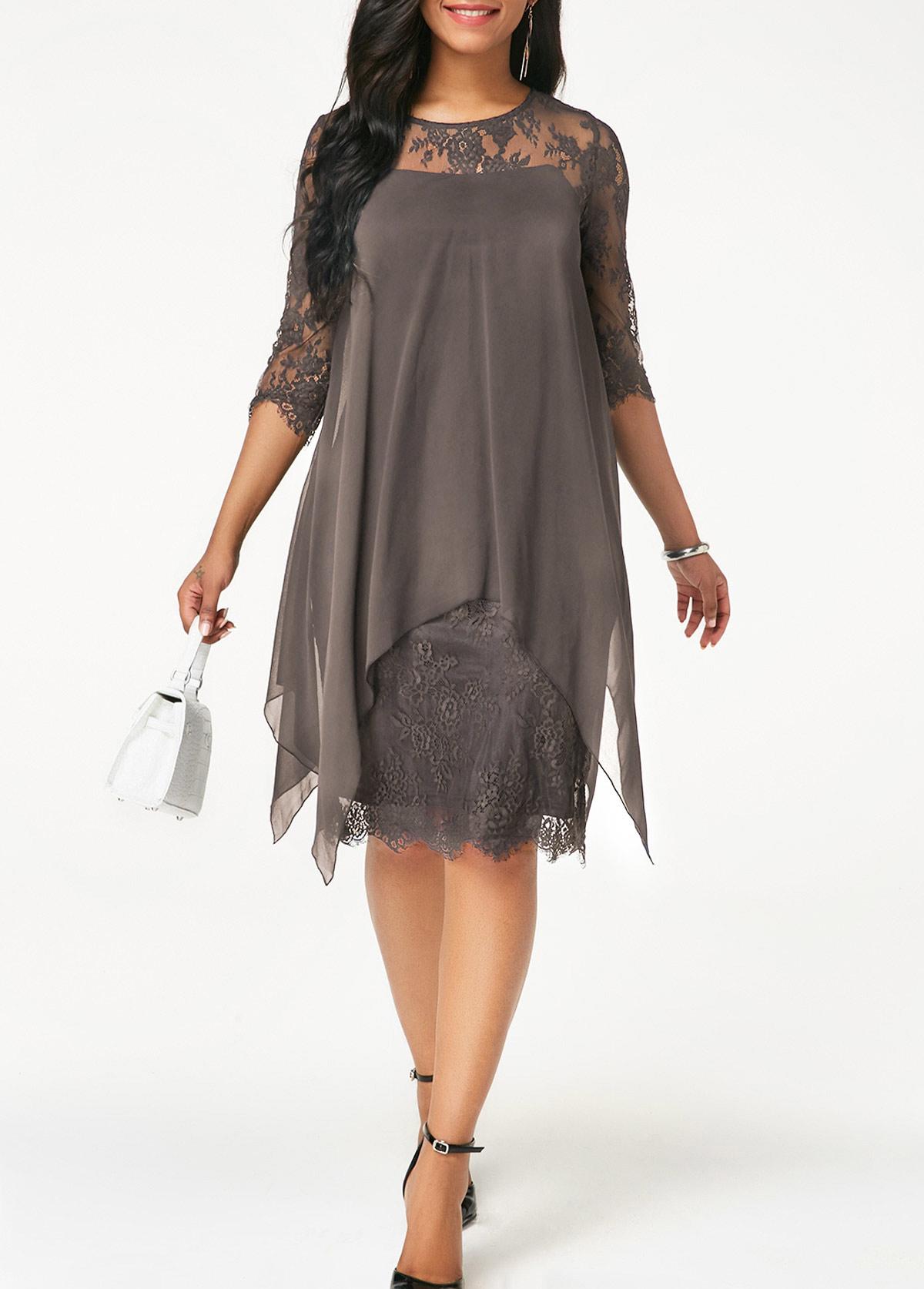 ROTITA Three Quarter Sleeve Grey Lace Dress