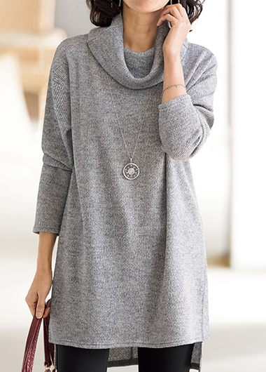 Light Grey Cowl Neck Long Sleeve Blouse