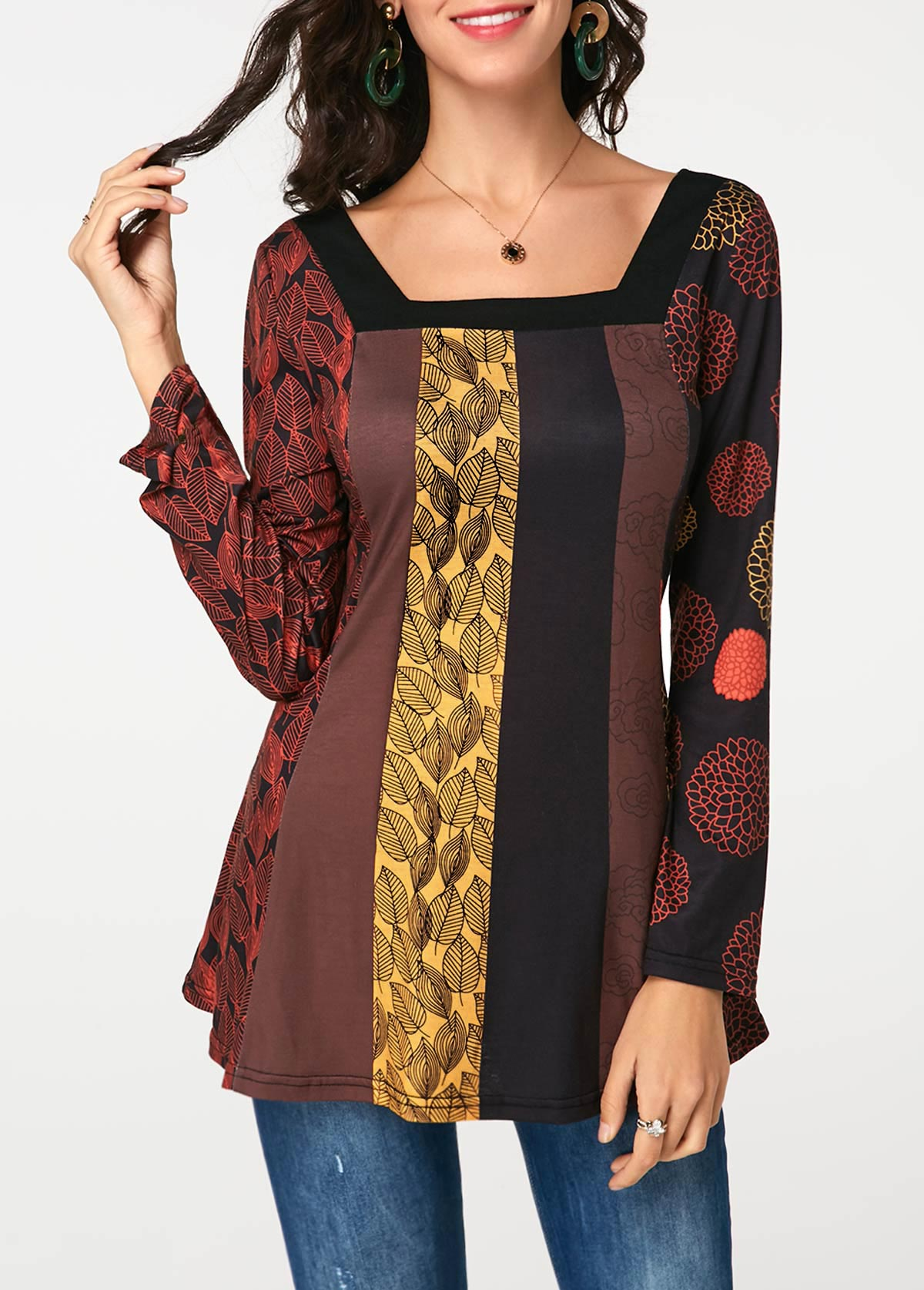 Printed Long Sleeve Square Neck T Shirt