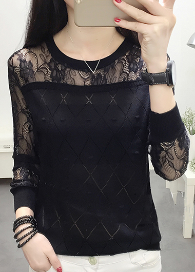 ROTITA Black Lace Panel Long Sleeve Pullover Sweater
