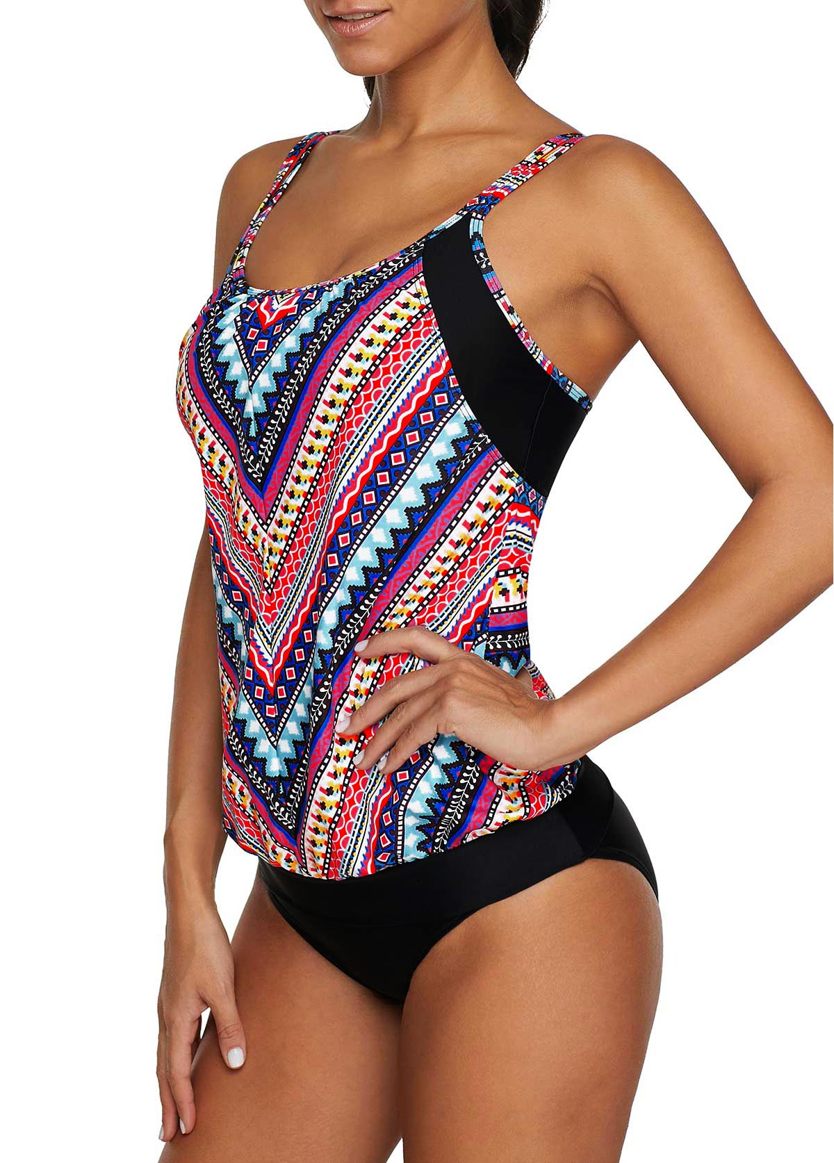 Double Strap Tribal Print Tankini Top and Panty