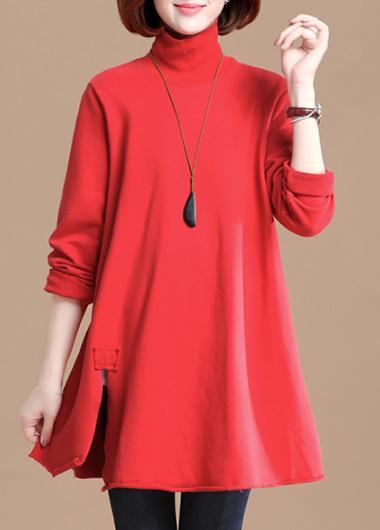 ROTITA High Neck Red Side Slit T Shirt