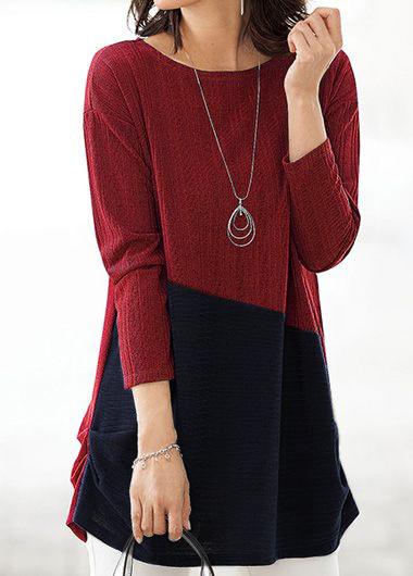 ROTITA Long Sleeve Color Block Round Neck Blouse