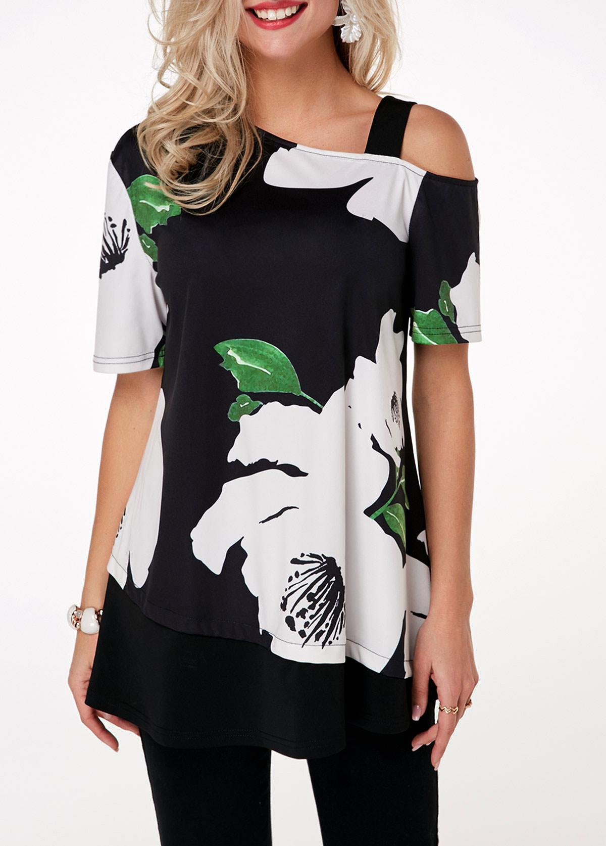 ROTITA Cold Shoulder Color Block Short Sleeve Flower Print T Shirt