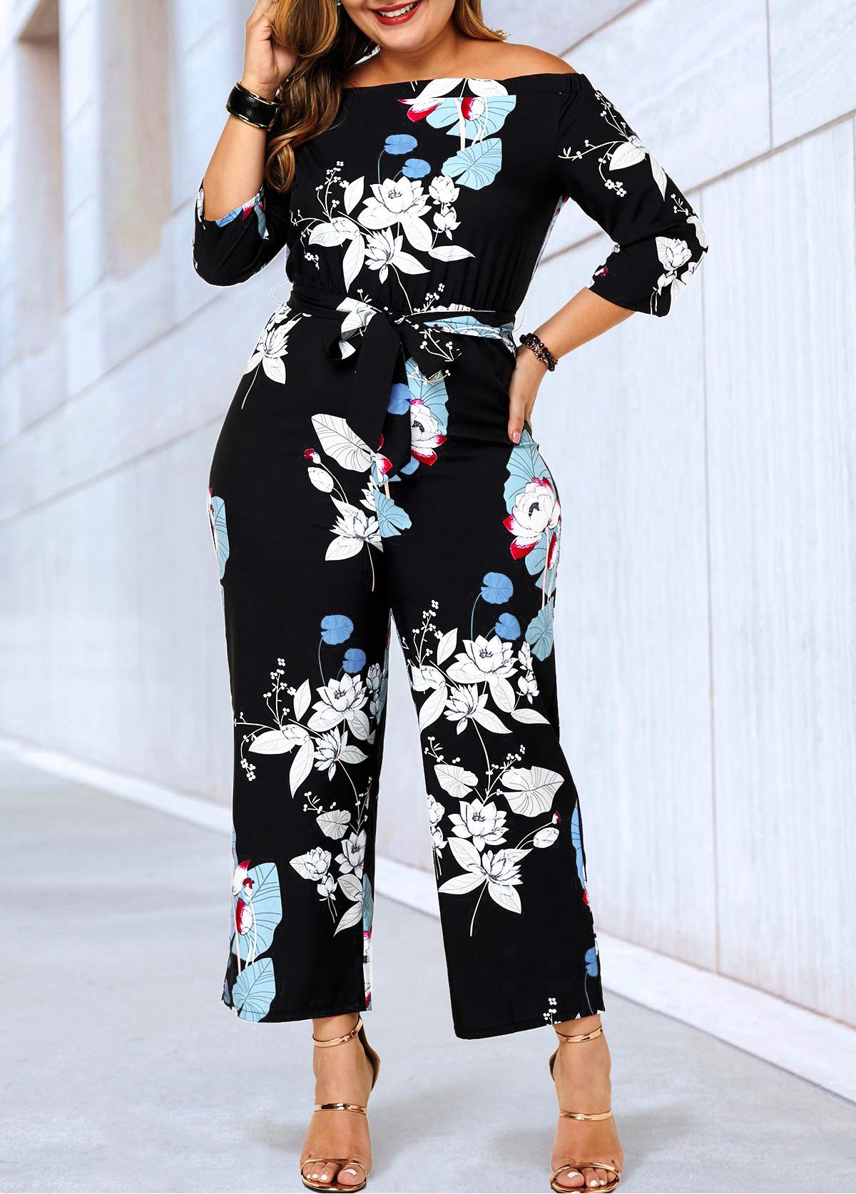 Flower Print Black Plus Size Belted Jumpsuit