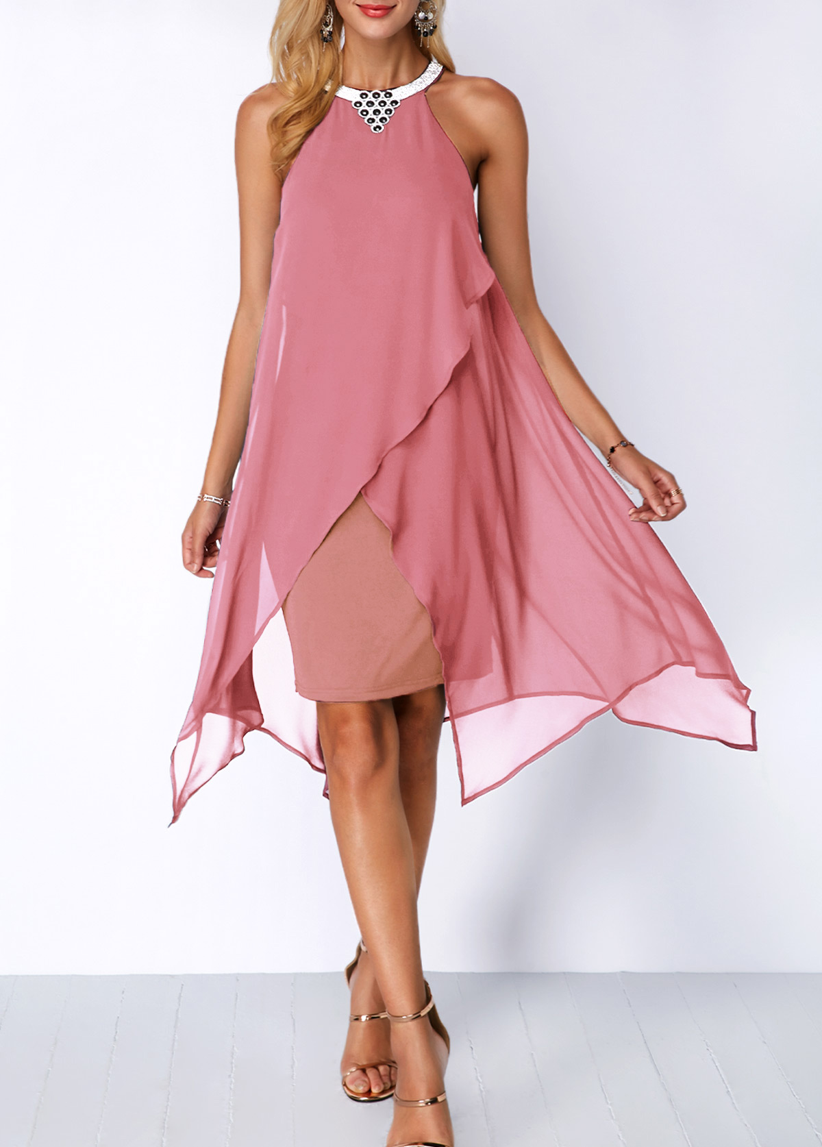 Embellished Neck Asymmetric Hem Chiffon Overlay Dress