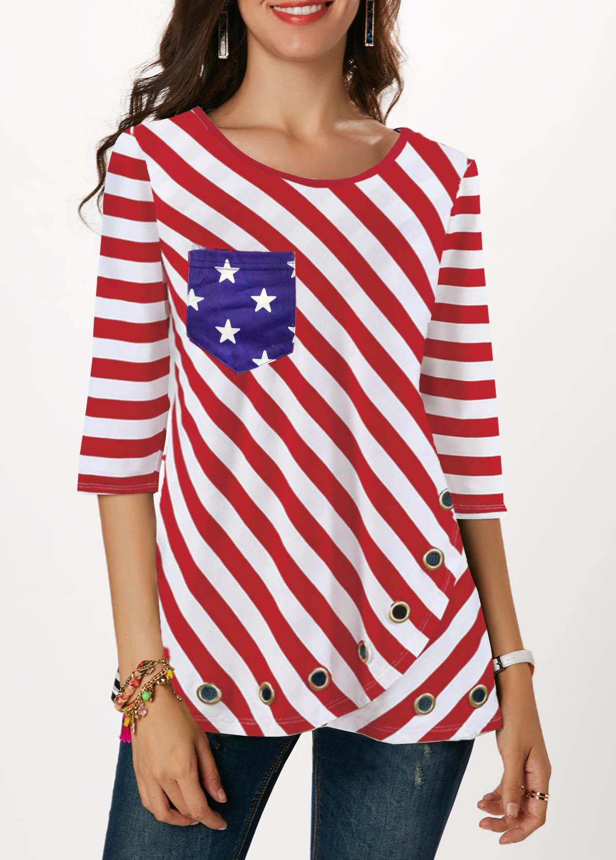 ROTITA Three Quarter Sleeve American Flag Print Red T Shirt