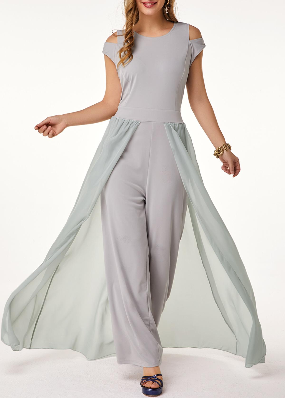 High Waist Round Neck Light Grey Jumpsuit