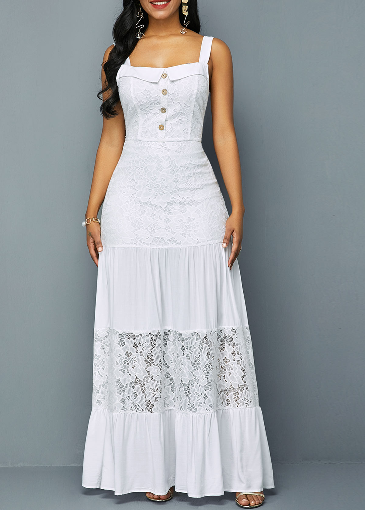 ROTITA Button Detail Ruffle Hem Lace Patchwork Dress
