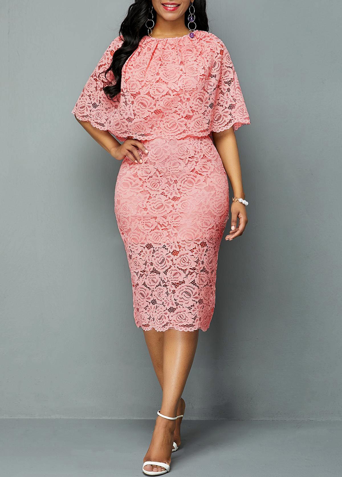 ROTITA Half Sleeve Overlay Embellished Lace Dress