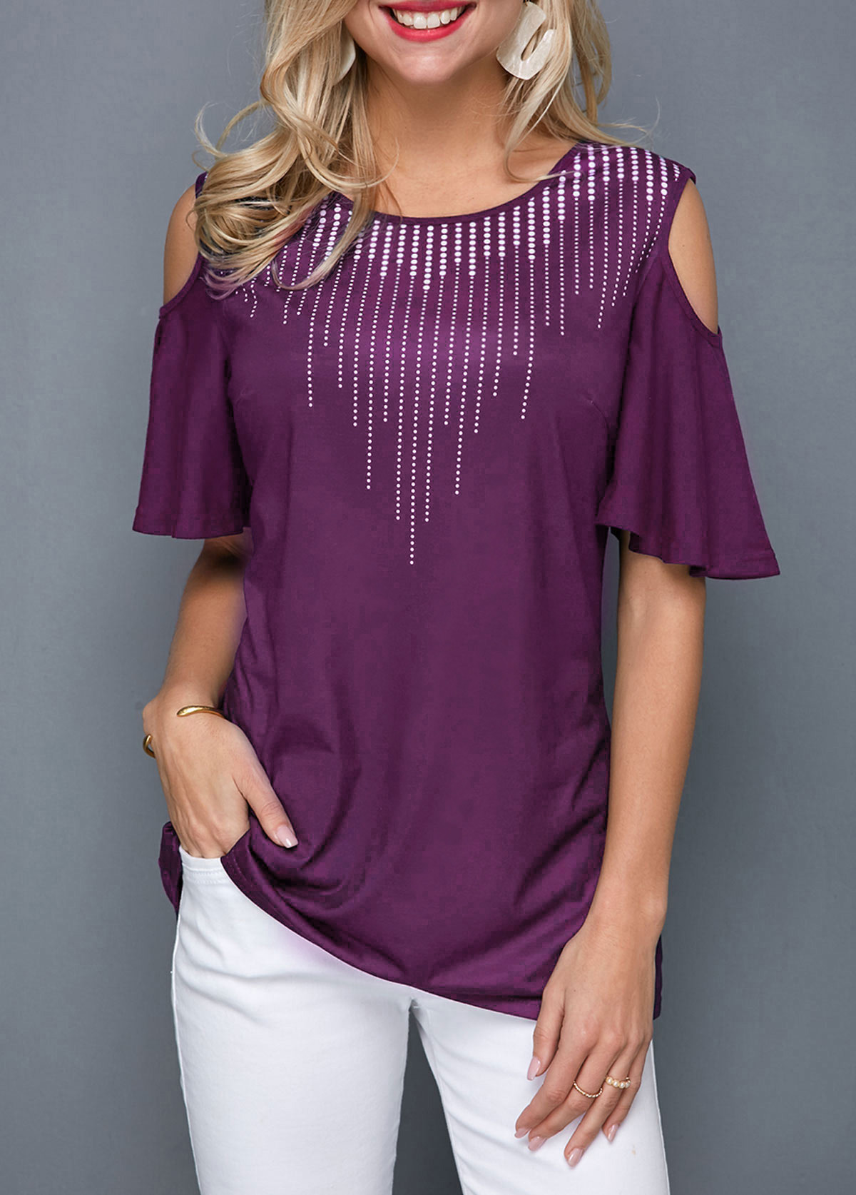 ROTITA Cold Shoulder Round Neck Half Sleeve T Shirt