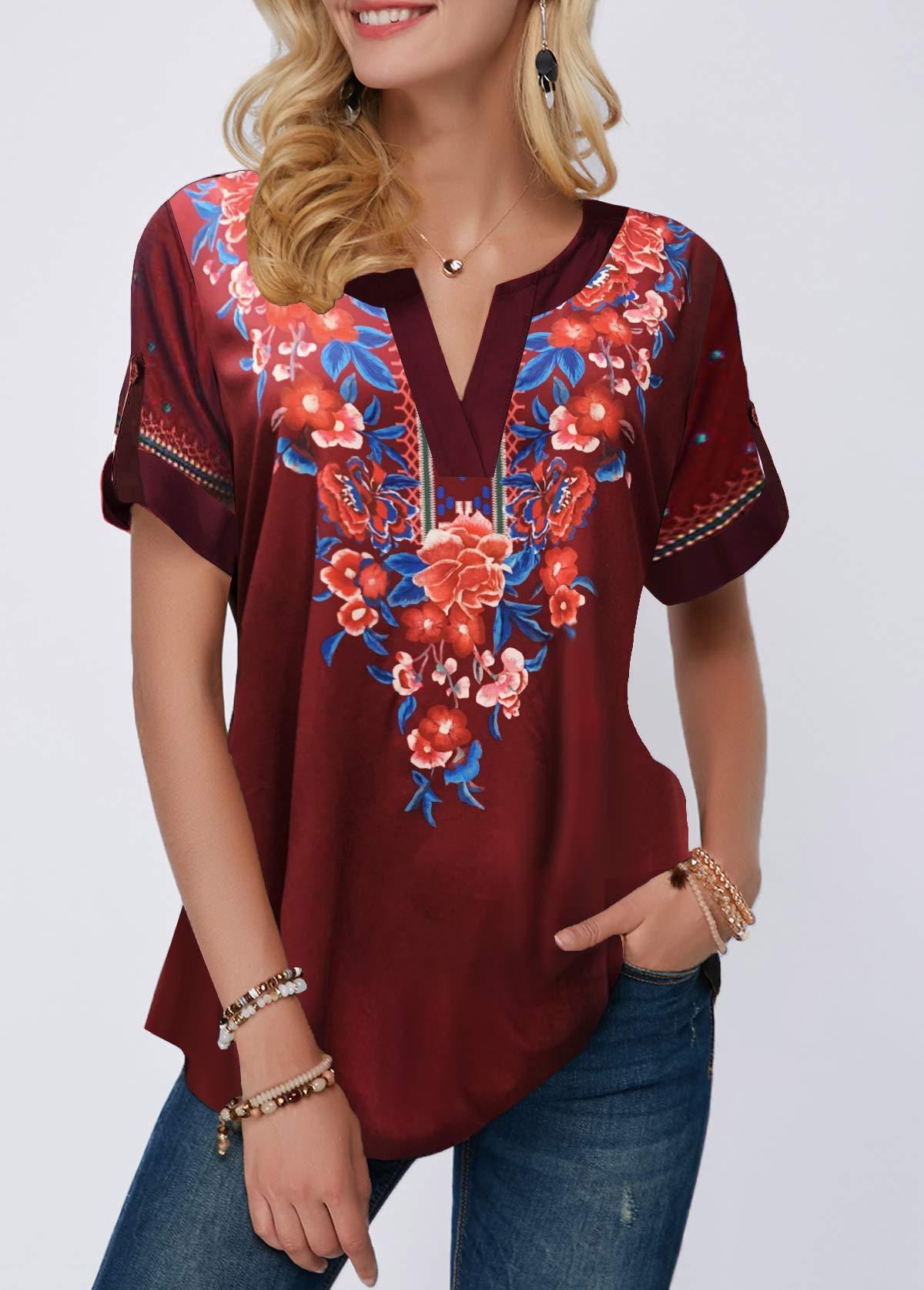 Notch Neck Ethnic Flower Print T Shirt