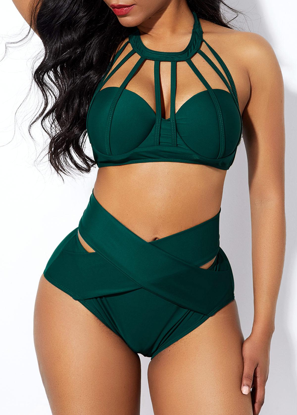 Cross Front Strappy Neck High Waist Bikini Set