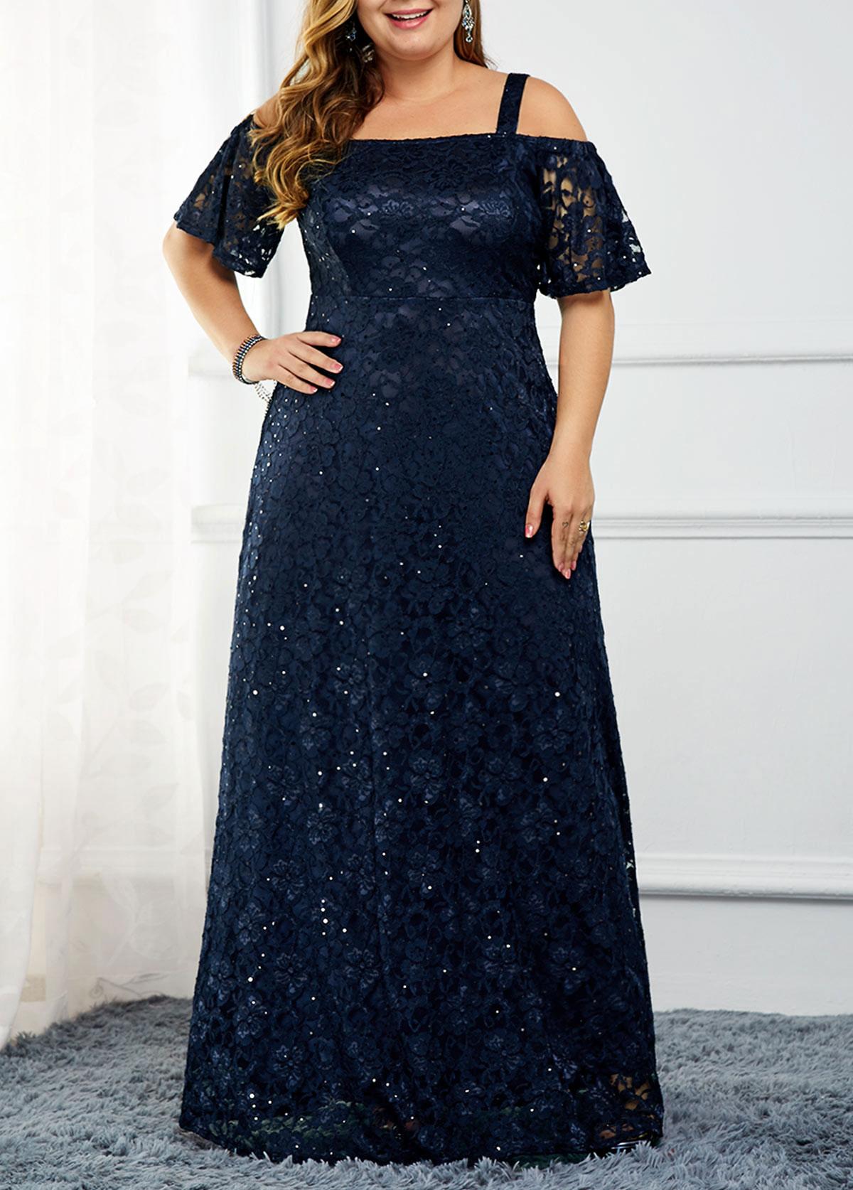 ROTITA Strappy Cold Shoulder Back Zipper Sequin Detail Lace Dress