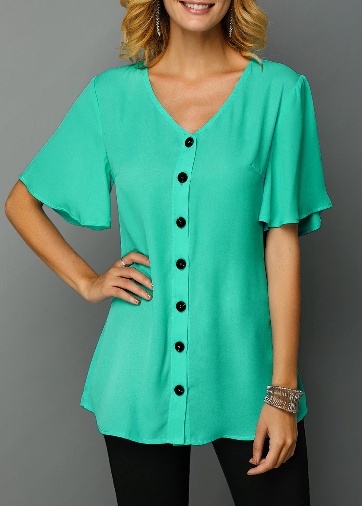 ROTITA Button Up V Neck Short Sleeve T Shirt