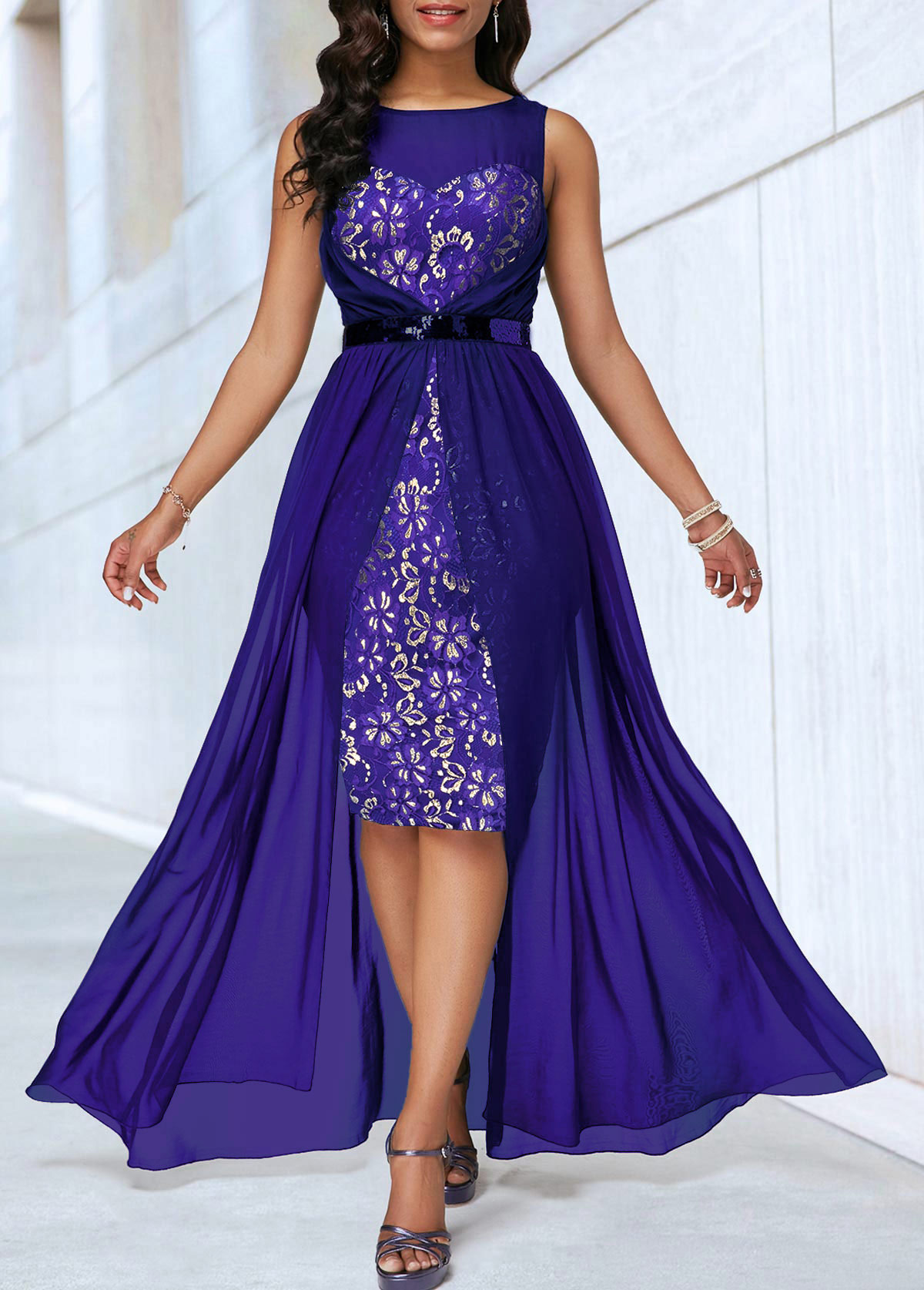 Dip Hem Sleeveless Lace Panel Dress