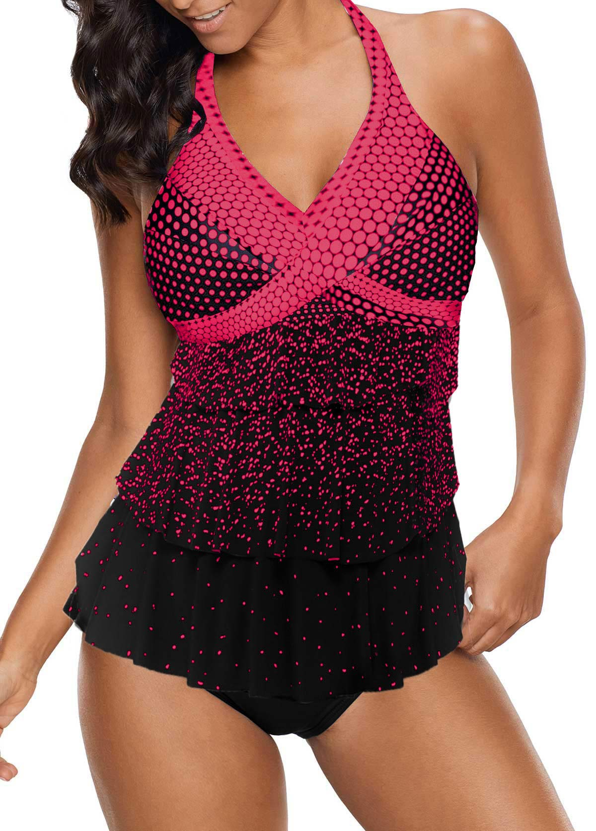 Dot Print Open Back Layered Tankini Set