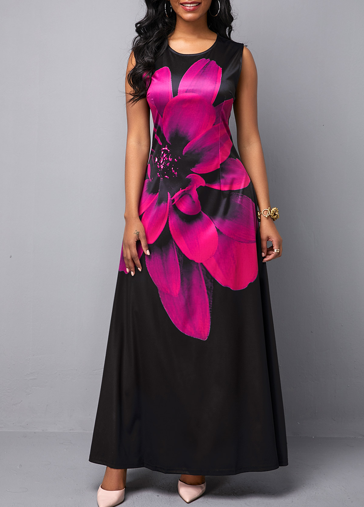 Round Neck Peony Print Sleeveless Maxi Dress