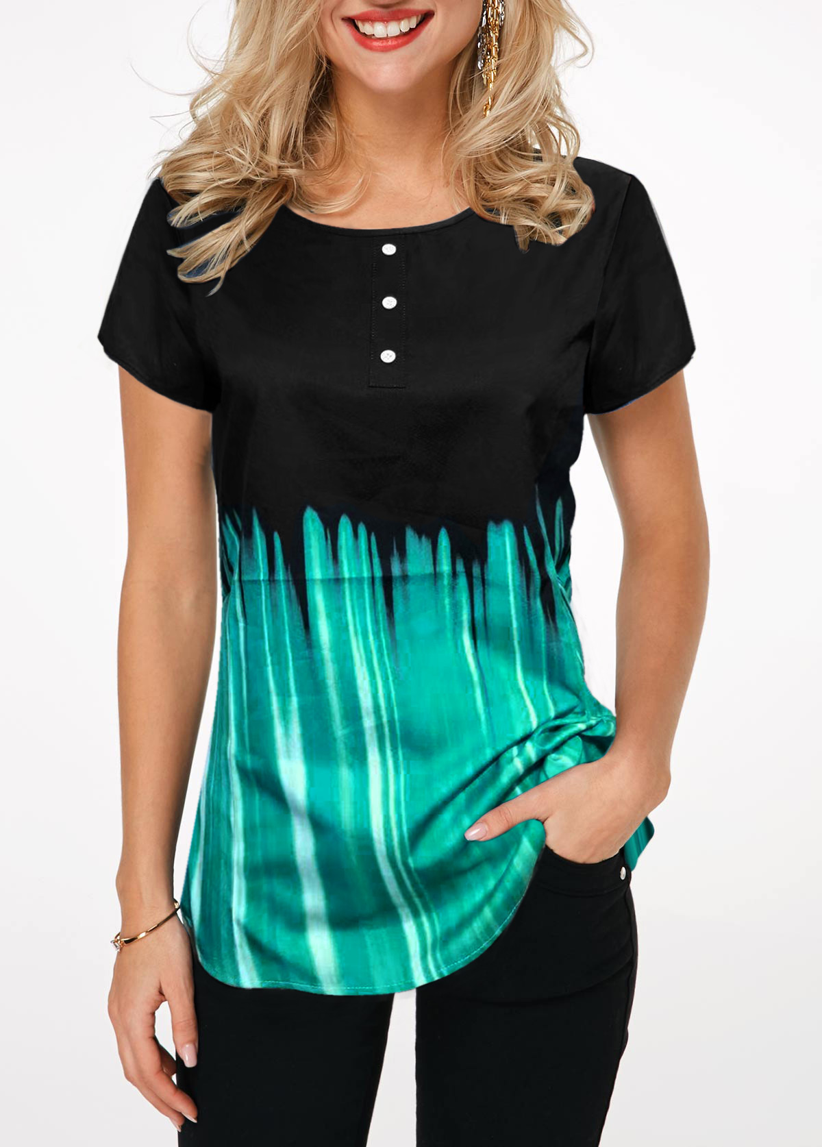 Printed Short Sleeve Button Front T Shirt