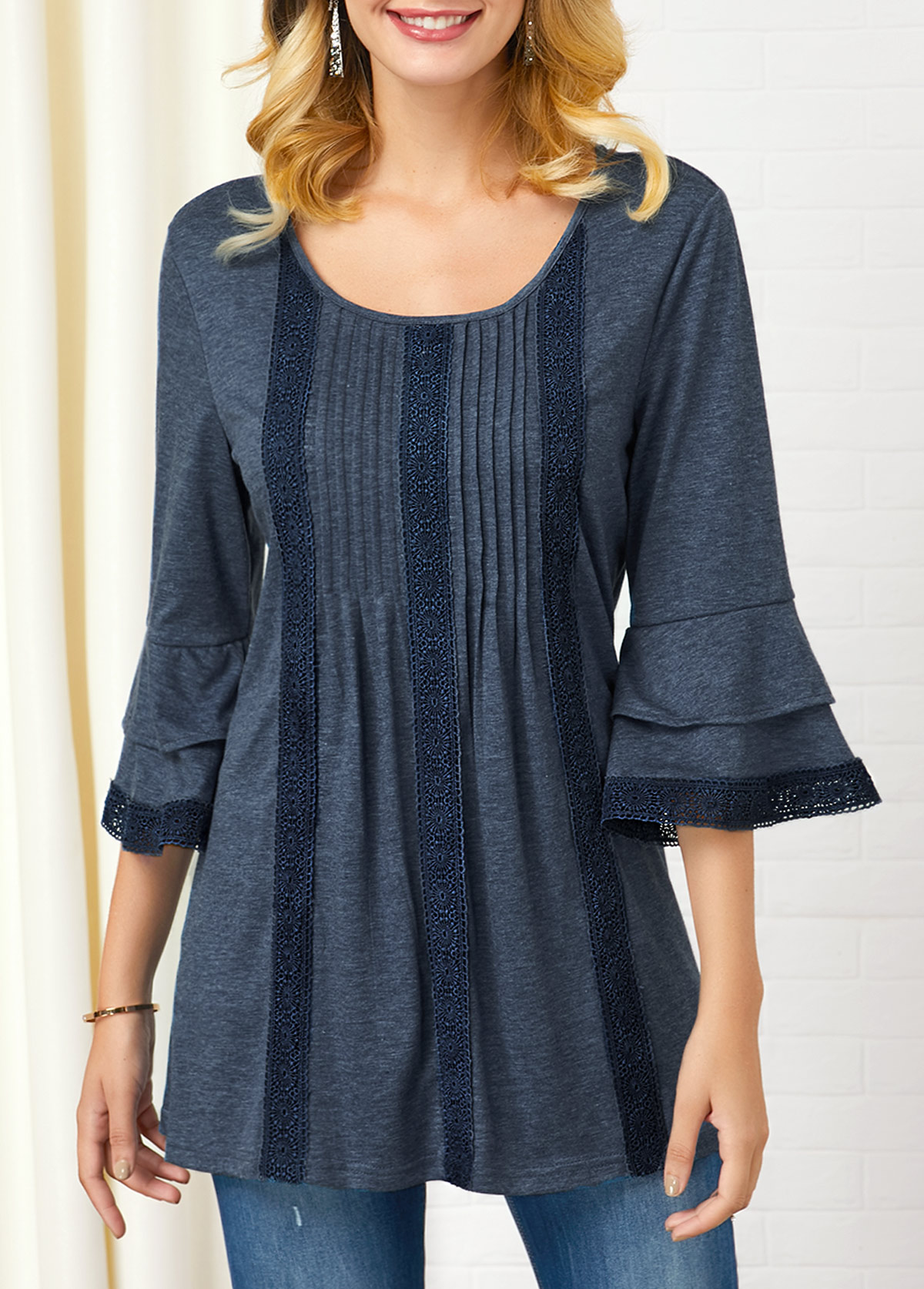 ROTITA Crinkle Chest Layered Bell Sleeve Lace Patchwork T Shirt