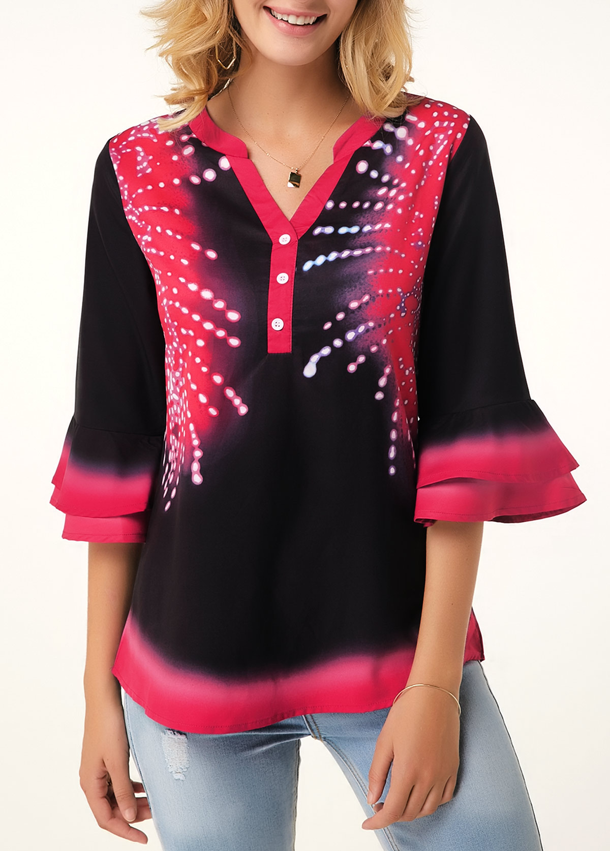 ROTITA Split Neck Flare Cuff Button Detail Printed Blouse