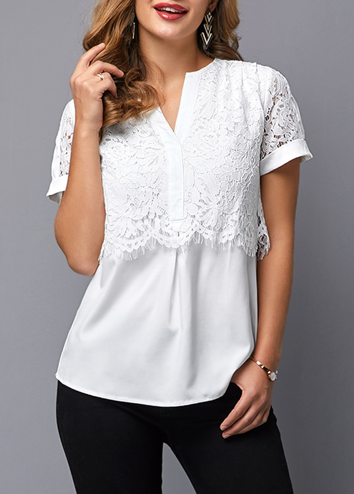 Lace Panel Short Sleeve Notch Neck Blouse