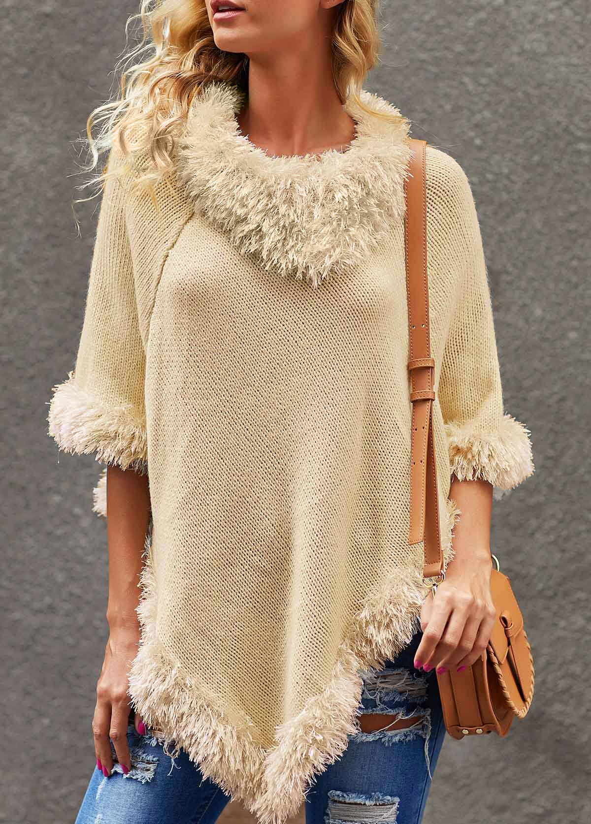 White Three Quarter Sleeve Asymmetric Hem Sweater