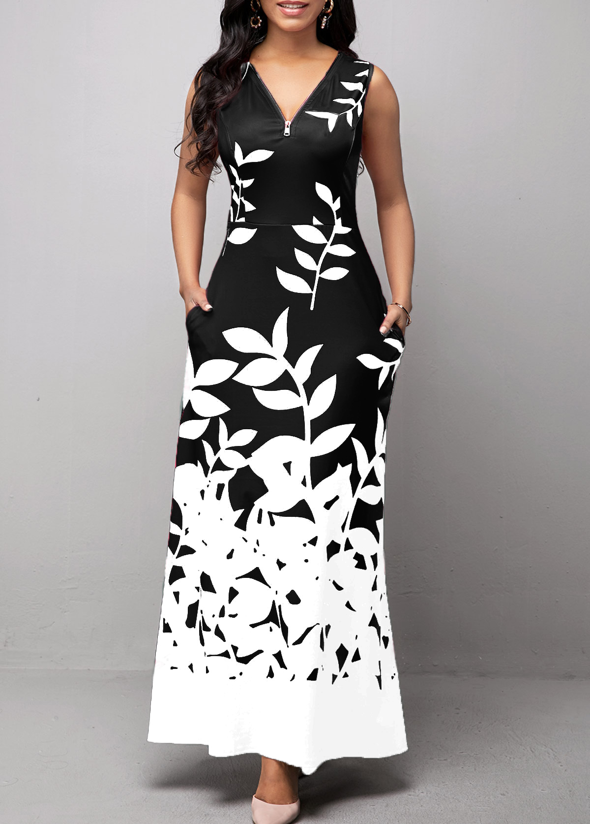 Leaf Print Sleeveless Zipper Detail Maxi Dress