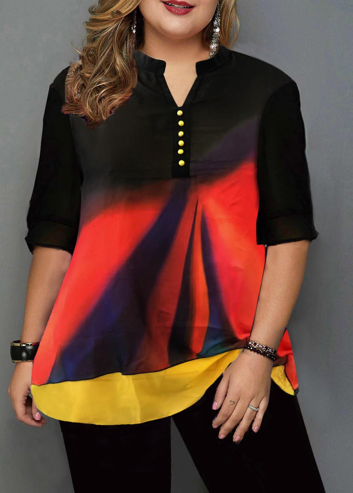 ROTITA Plus Size Split Neck Printed Button Detail T Shirt