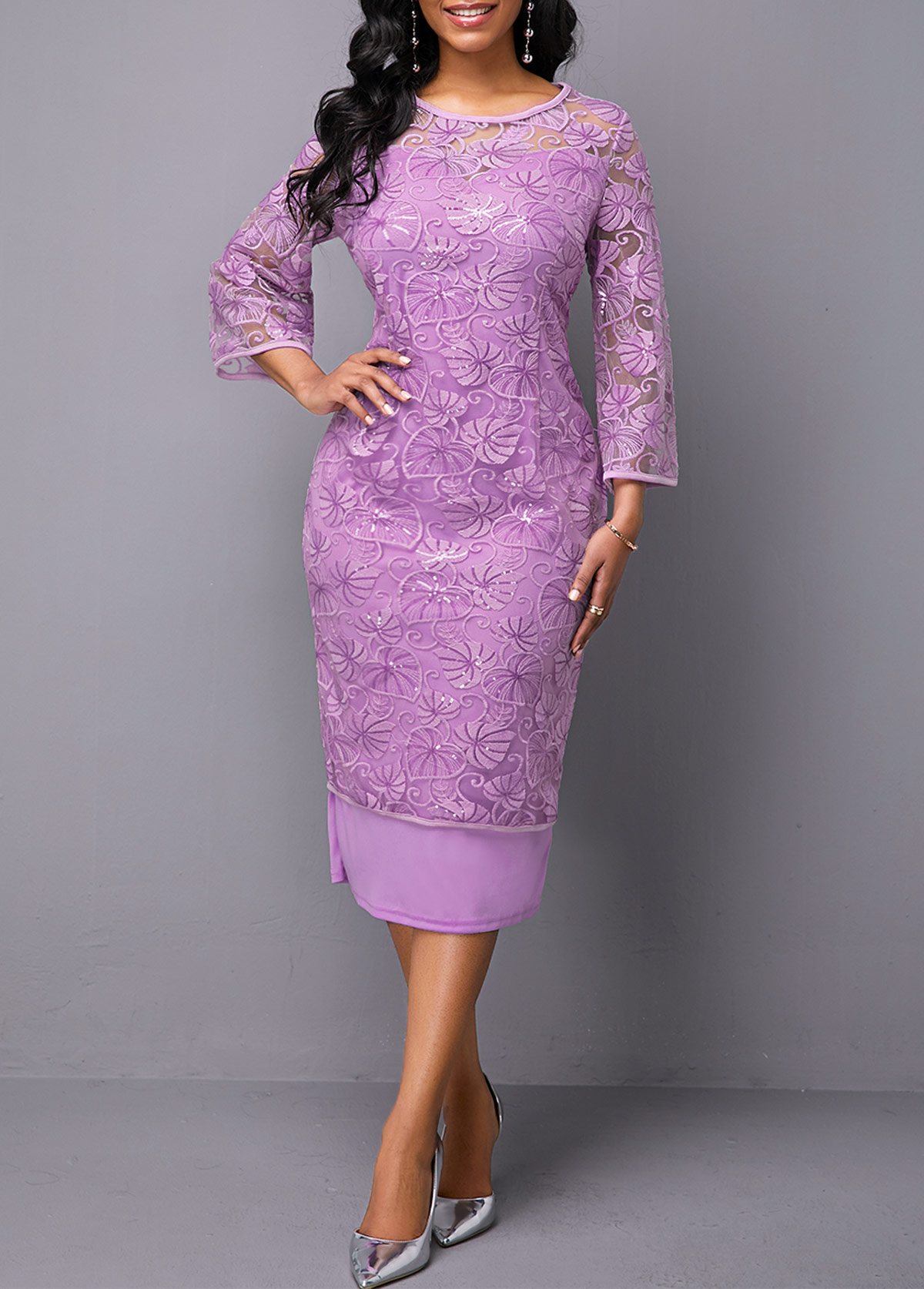 ROTITA Three Quarter Sleeve Purple Round Neck Lace Dress