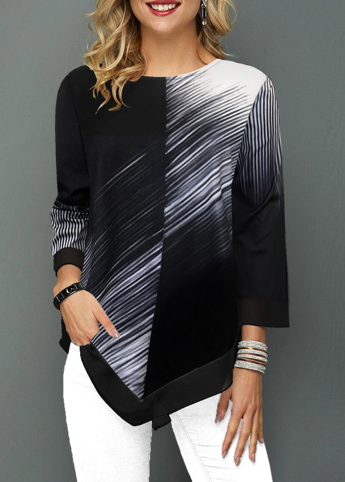 Color Block Asymmetric Hem Round Neck T Shirt