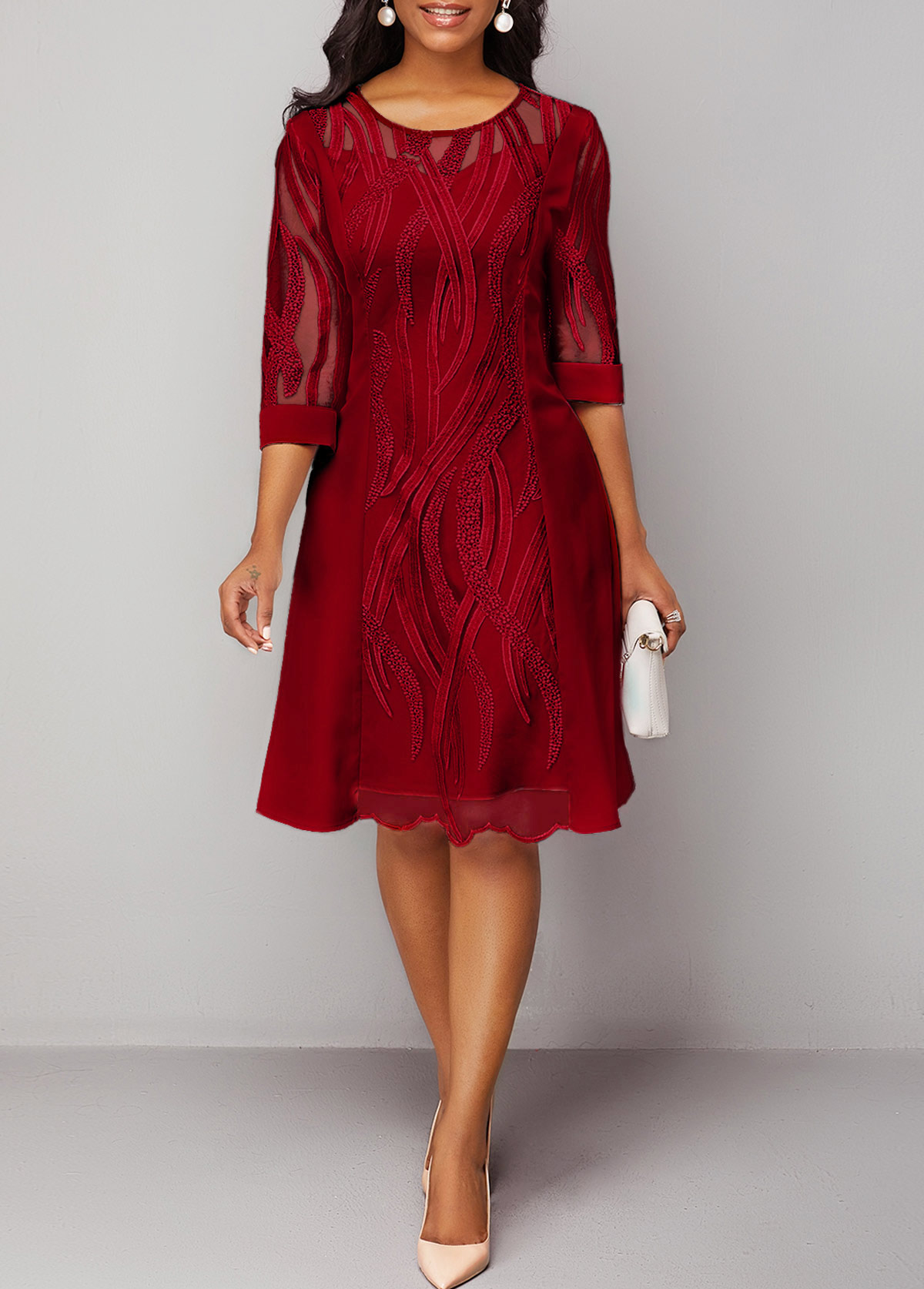 Wine Red Round Neck Back Zipper Lace Dress