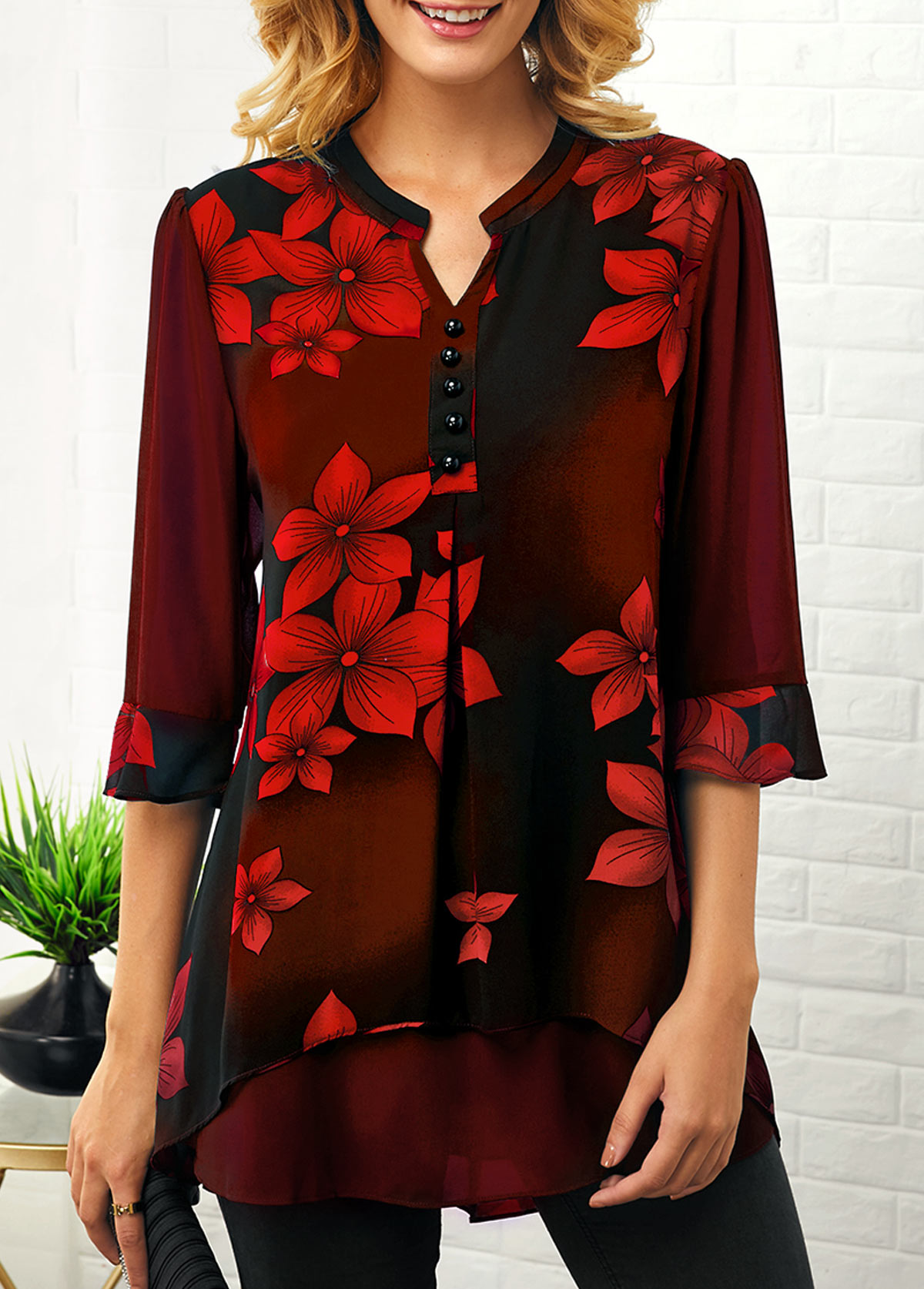Split Neck Flower Print Button Detail Blouse