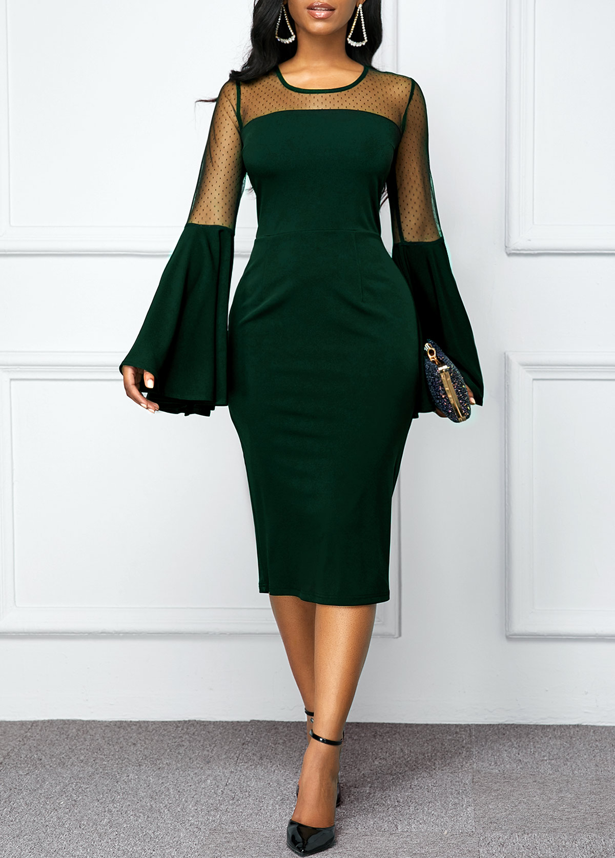 ROTITA Flare Sleeve Round Neck Mesh Panel Dress
