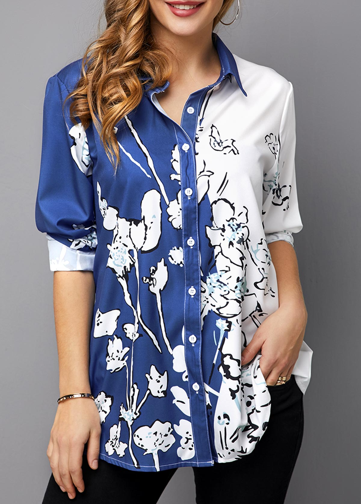 ROTITA Floral Print Button Up Turndown Collar Blouse
