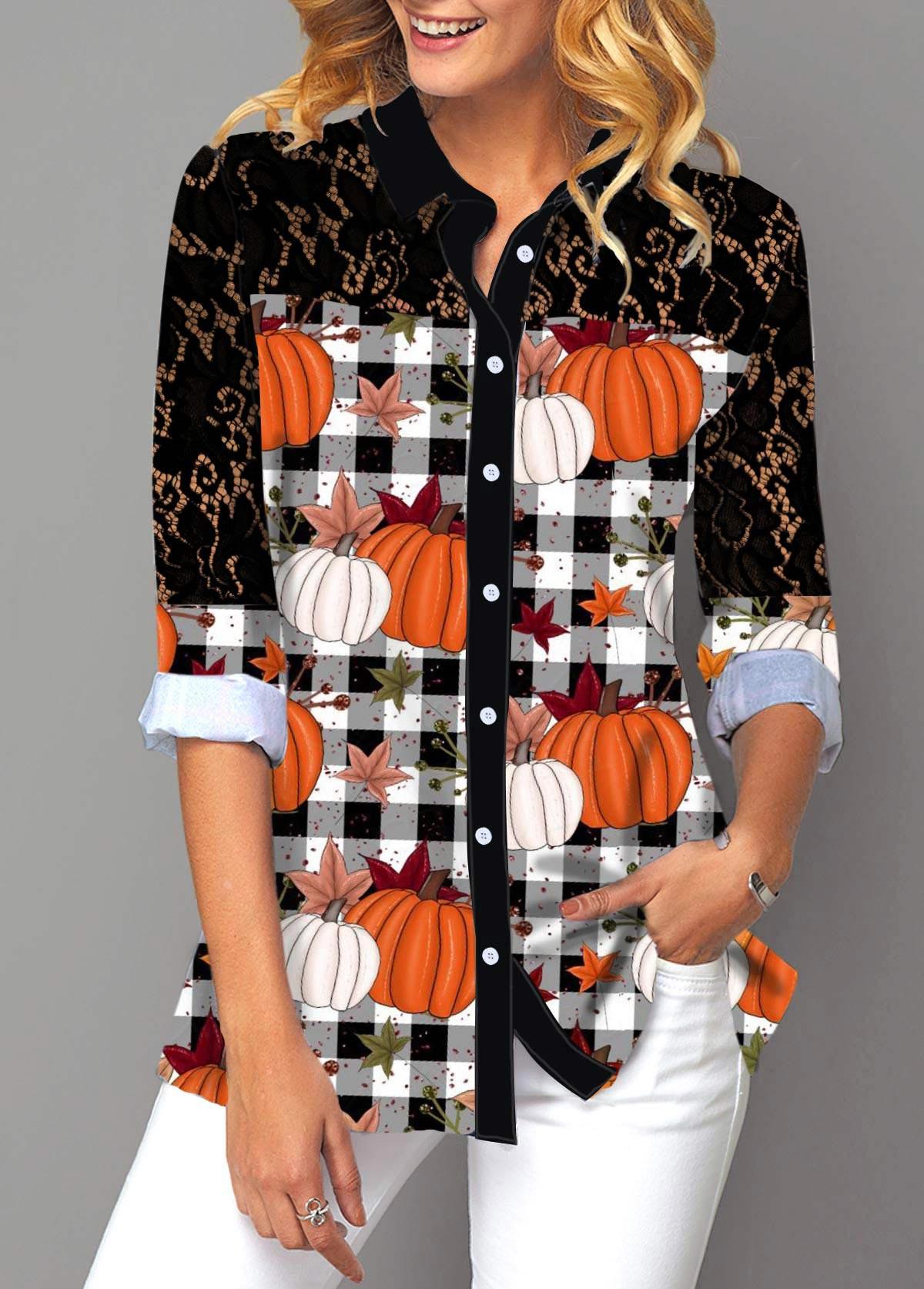 ROTITA Pumpkin and Plaid Print Lace Panel Button Up Shirt