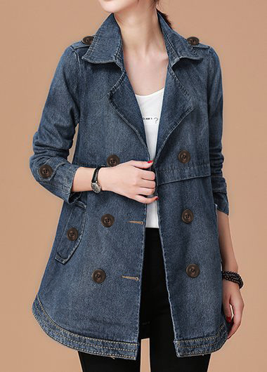 Long Sleeve Button Detail Pocket Denim Coat
