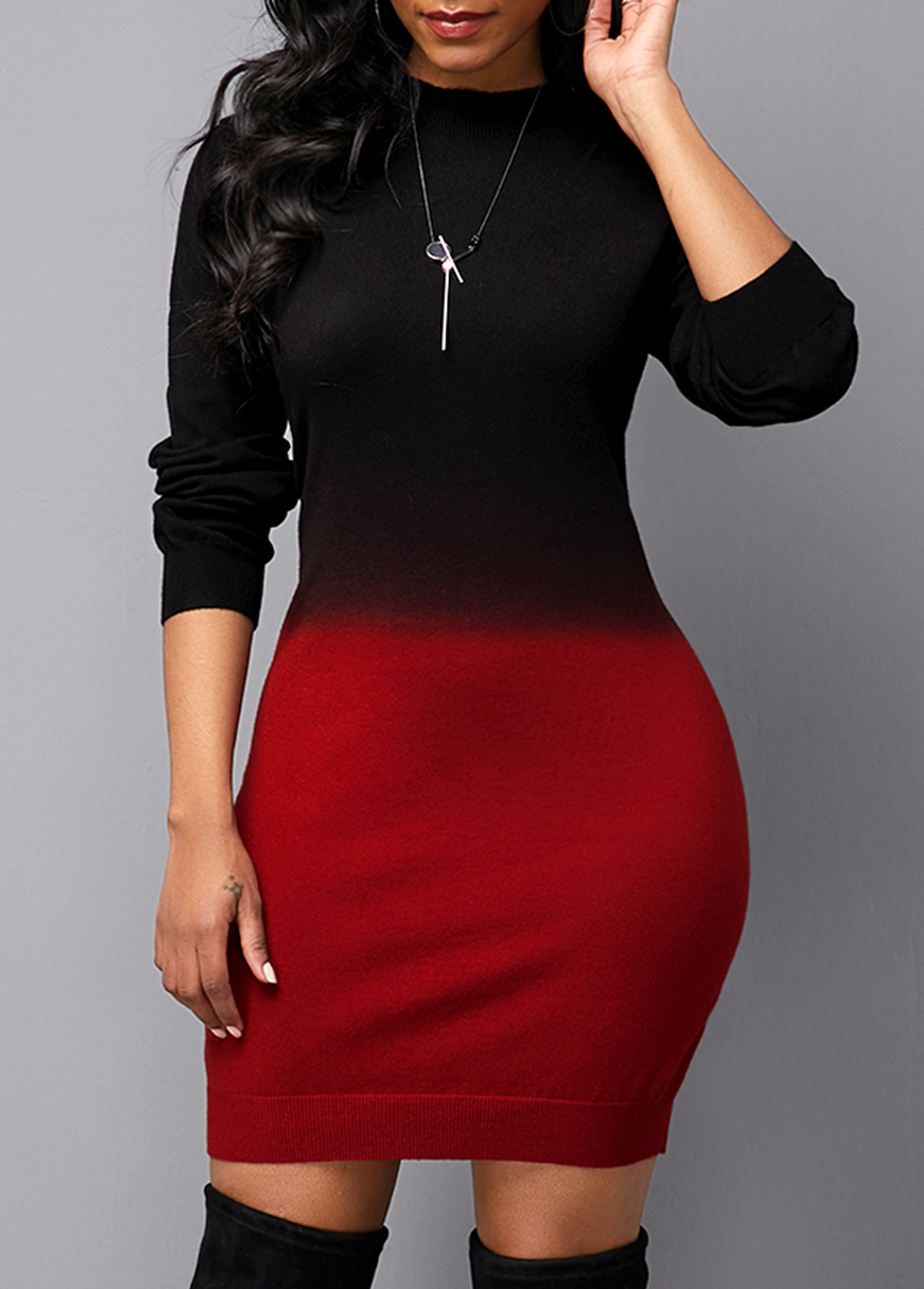 ROTITA Long Sleeve Round Neck Gradient Sweater Dress