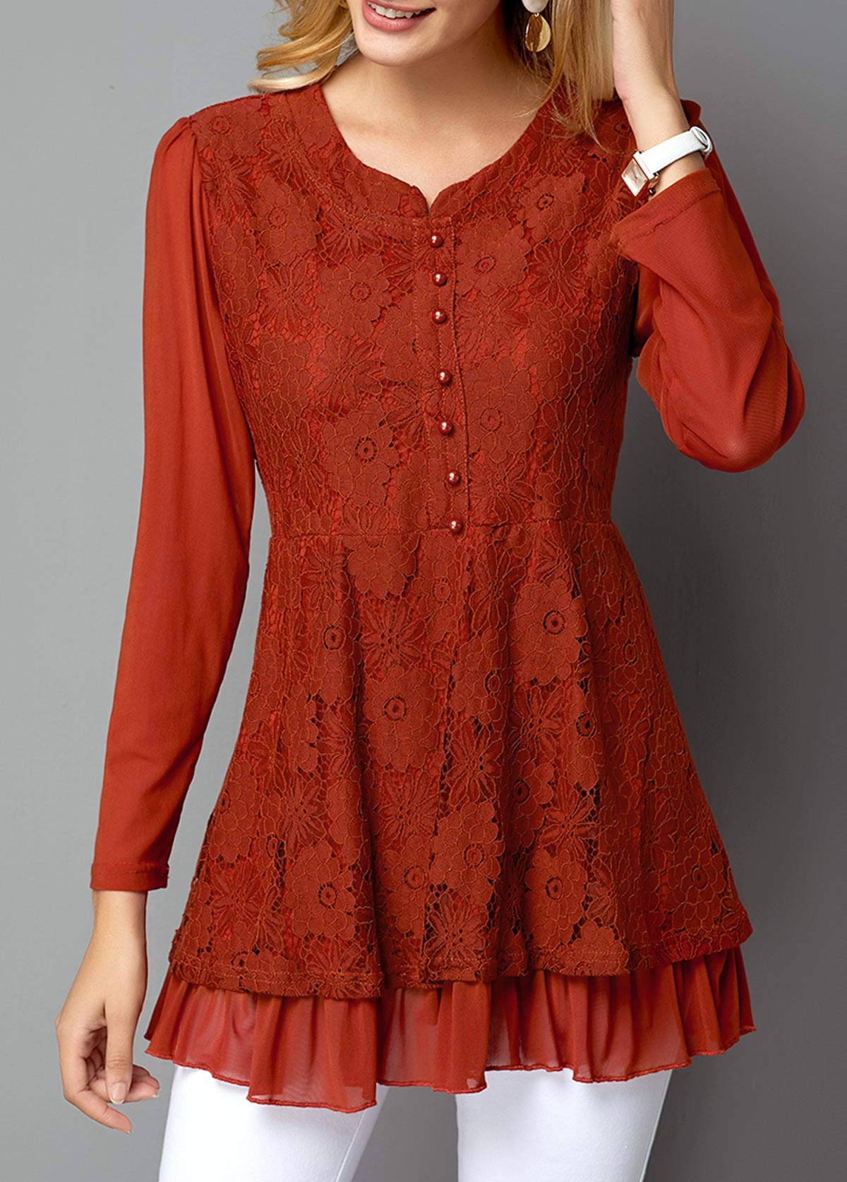 ROTITA Button Front Long Sleeve Red Lace T Shirt