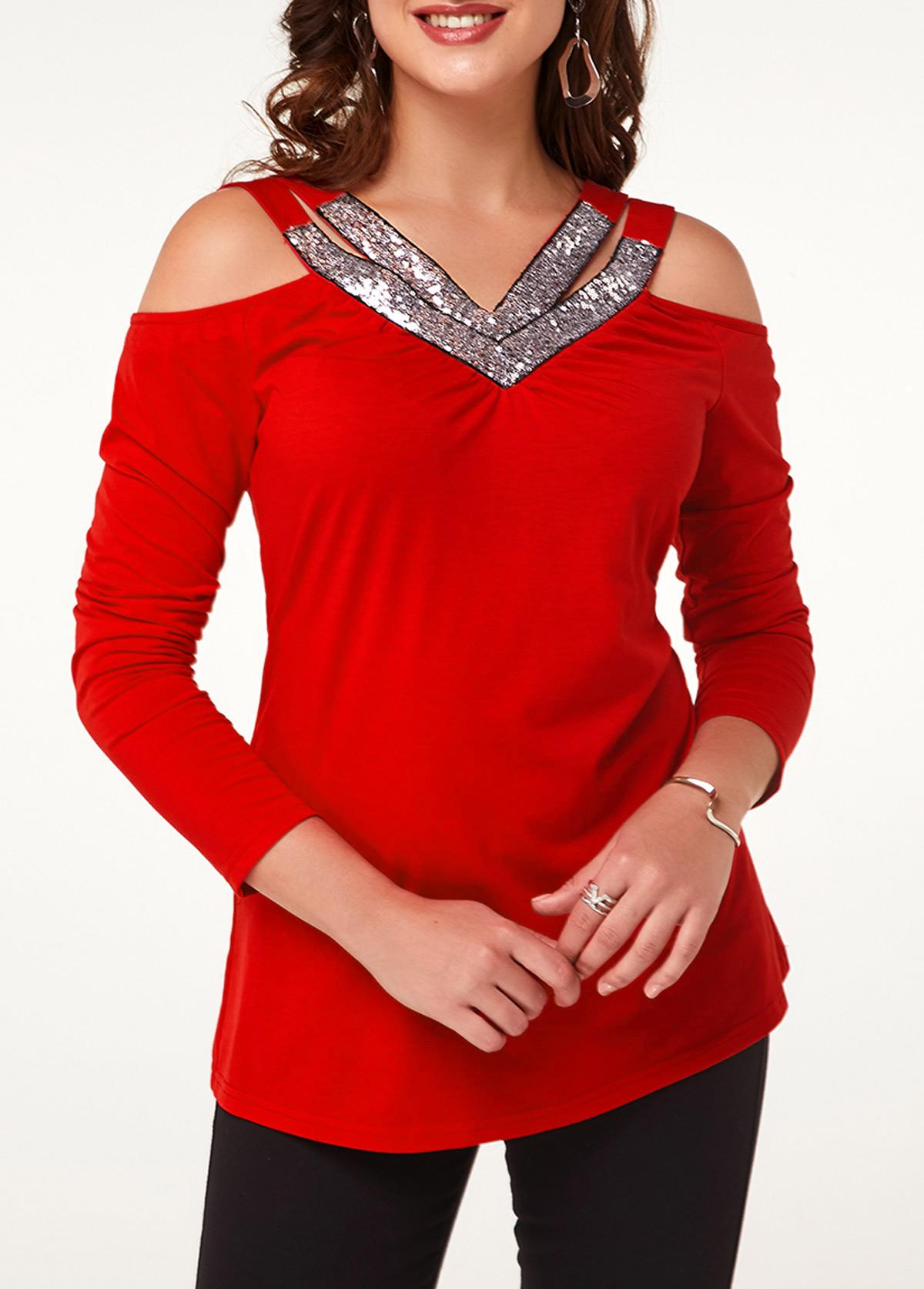 ROTITA Sequin Embellished Red Cold Shoulder T Shirt